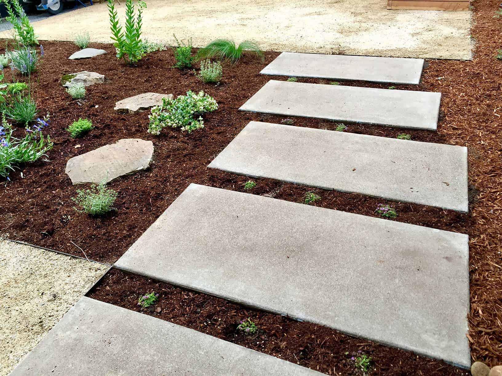 backyard with stone patio